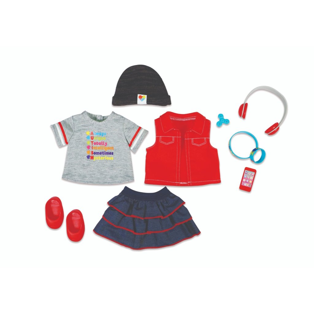 red vest, gray T-shirt, denim ruffle skirt, and rubber bracelets with toy cell phone, fidget spinner, beanie cap, and headphone accessories